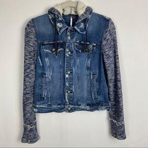 Free People Women's Knit Hooded Denim Jacket Sz M